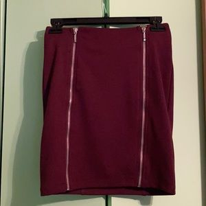 Forever 21 Cranberry Pencil Skirt w/ Gold Zip
